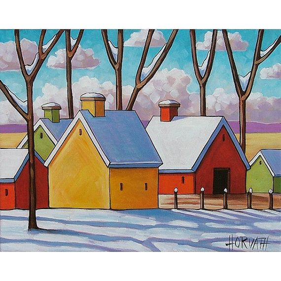 PAINTING Original Folk Art Winter Country Barns by SoloWorkStudio ...