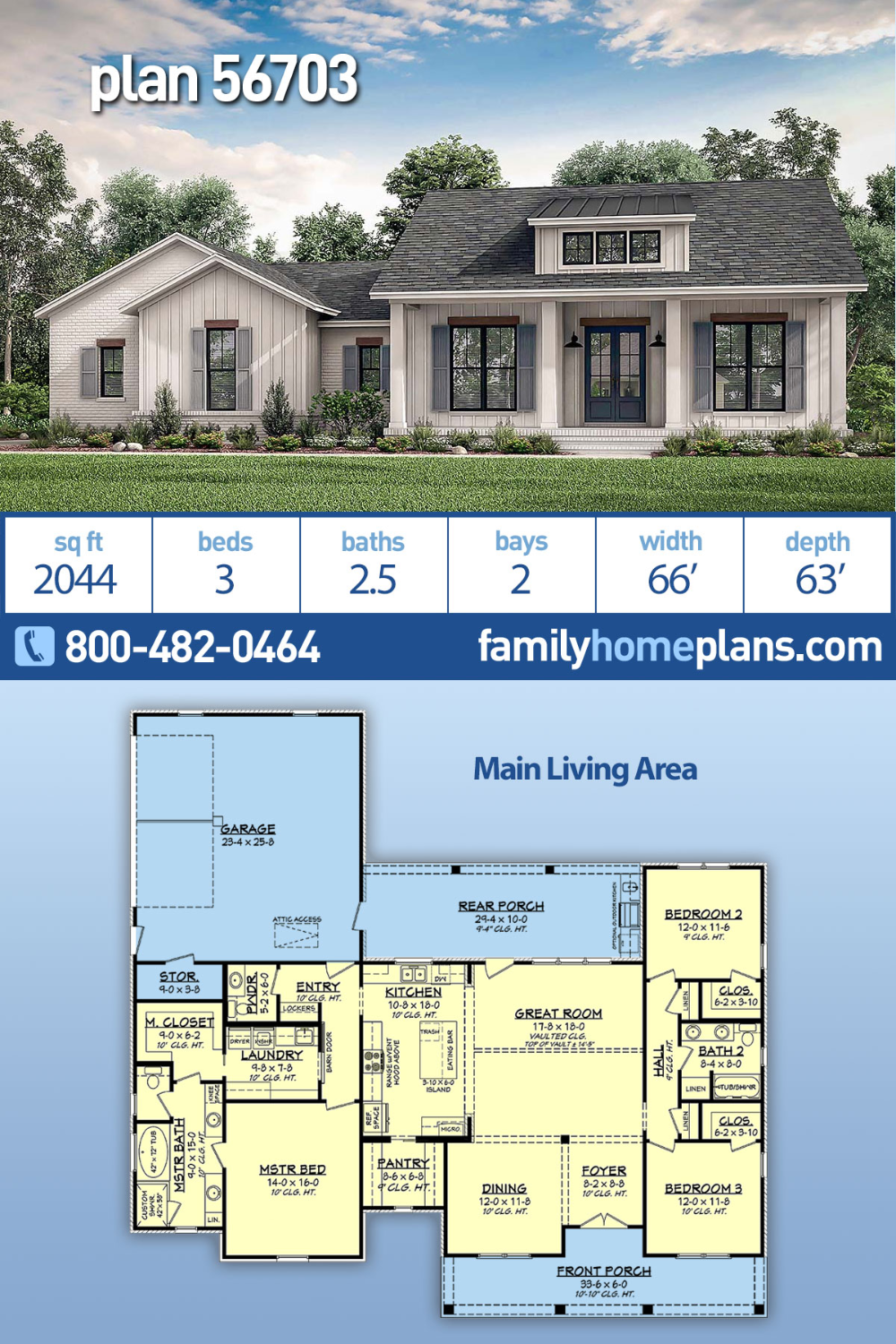 Photo of Traditional Style House Plan 56703 with 3 Bed, 3 Bath, 2 Car Garage