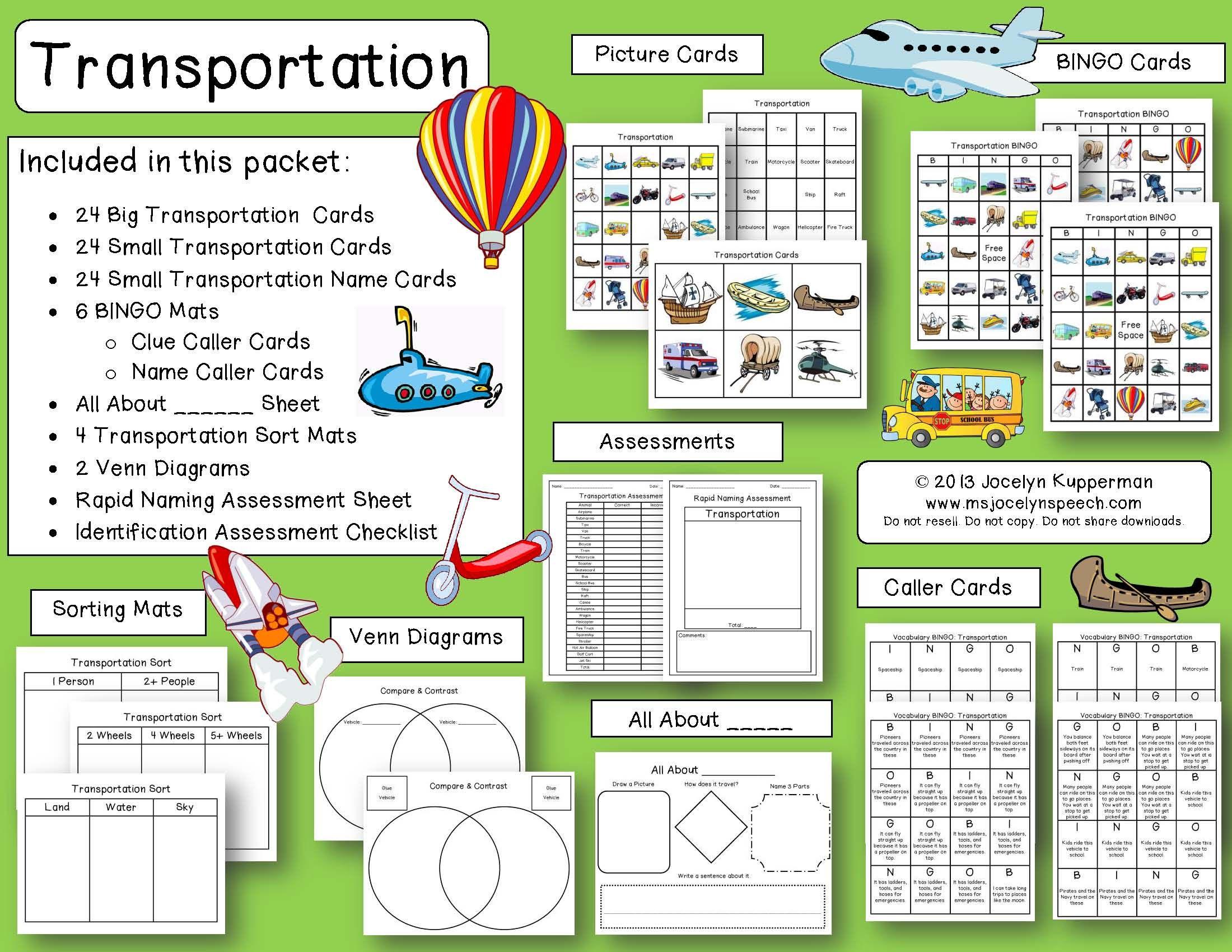 Transportation Naming Compare Contrast Categorization