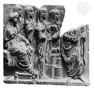 Vesta (seated on the left) with Vestal Virgins,