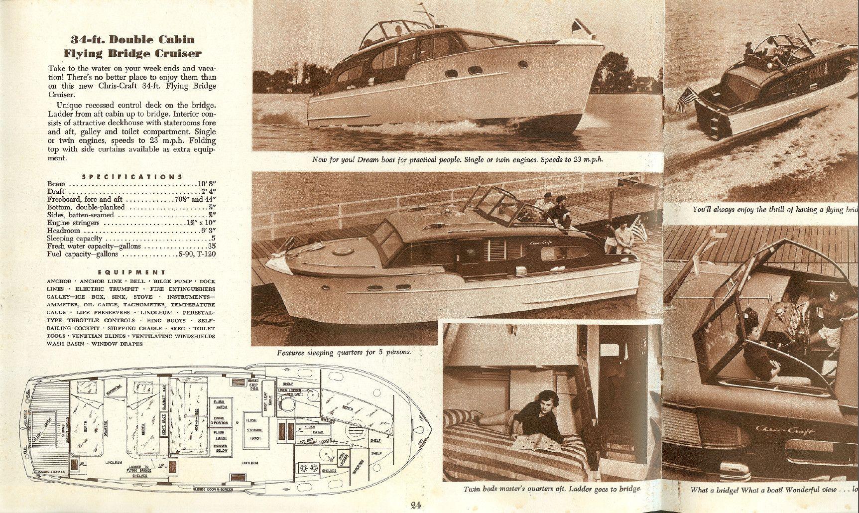1952 Chris Craft DCFB Cruiser specs and cloorplan