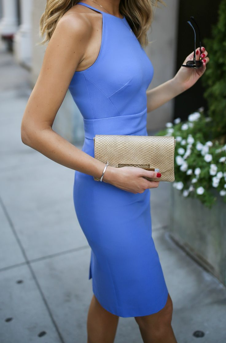 Periwinkle blue classic sleeveless sheath dress, cinched waist + gold clutch, nude strappy sandals, wavy hairstyle, fashion blogger {Banana Republic}