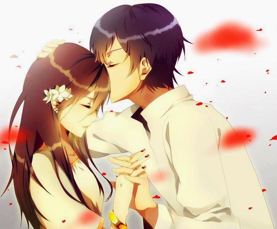 Anime Manga Parchen Kuss Auf Die Stirn Handchen Halten