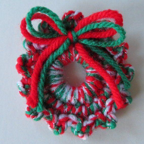 Photo of Crocheted Wreath Pin, Small Multi-colored Wreath With Yarn Bows, Christmas Lapel Pin, Holiday Wreath Pin, 2.25-Inch Pin, Christmas Accessory