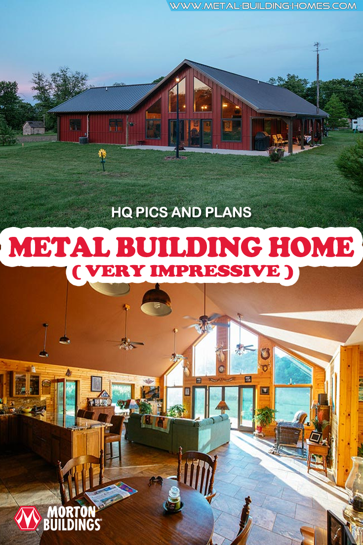 Very Impressive Metal Building Home.  This is not your ordinary home. Morton Buildings is responsible for creating this spacious home that uses metal to decorate its exterior without looking industrial.At a first glance, it looks like a simple house that is accommodating. #metalhousing #metalhouse #Metalbuildinghomes #housingsolution #metalbuildinghouses
