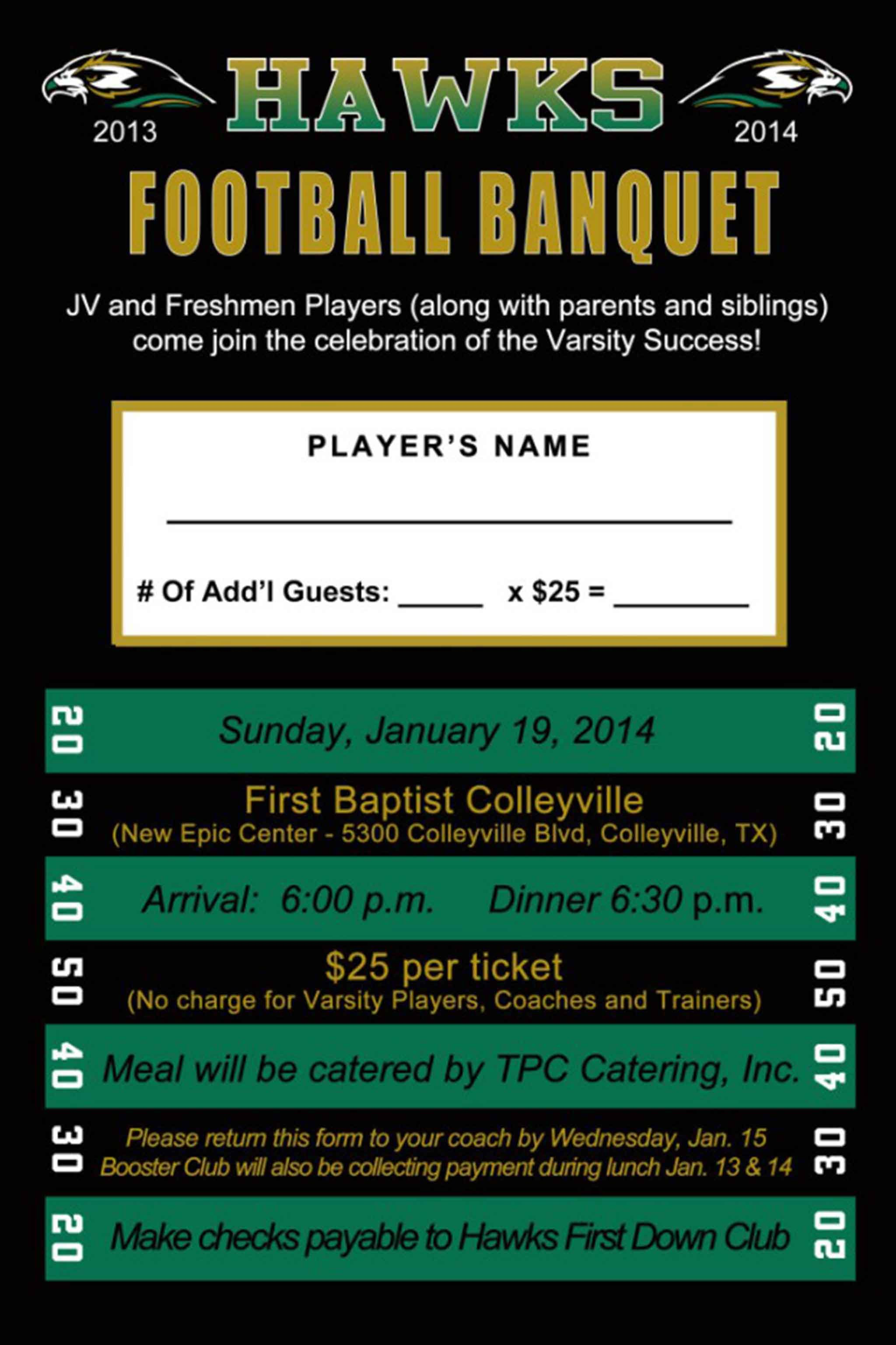 High School Football Banquet Invitations Pinteres