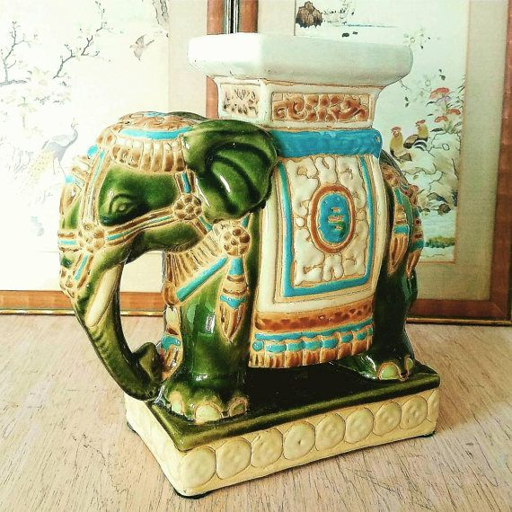 Small Elephant Garden Stool, Vintage Ceramic Elephant, Chinoiserie ...