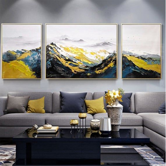 3 Pieces Framed Abstract Mountains Painting Canvas Wall Art Pictures For Living Room Wall Decor Original Acrylic Handmade Texture Landscape Living Room Canvas Living Room Art Canvas Art Wall Decor