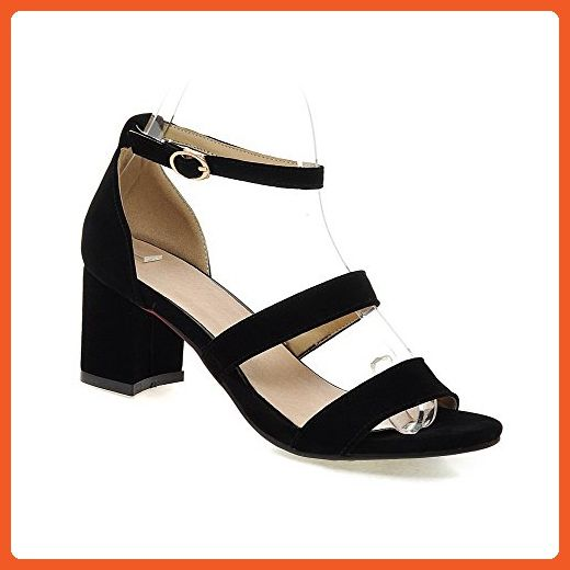 Amoonyfashion Women S Open Toe Kitten Heels Frosted Solid Buckle Sandals Black 42 Sandals For Women Amazon Partner Heels Work Sandals Strappy High Heels