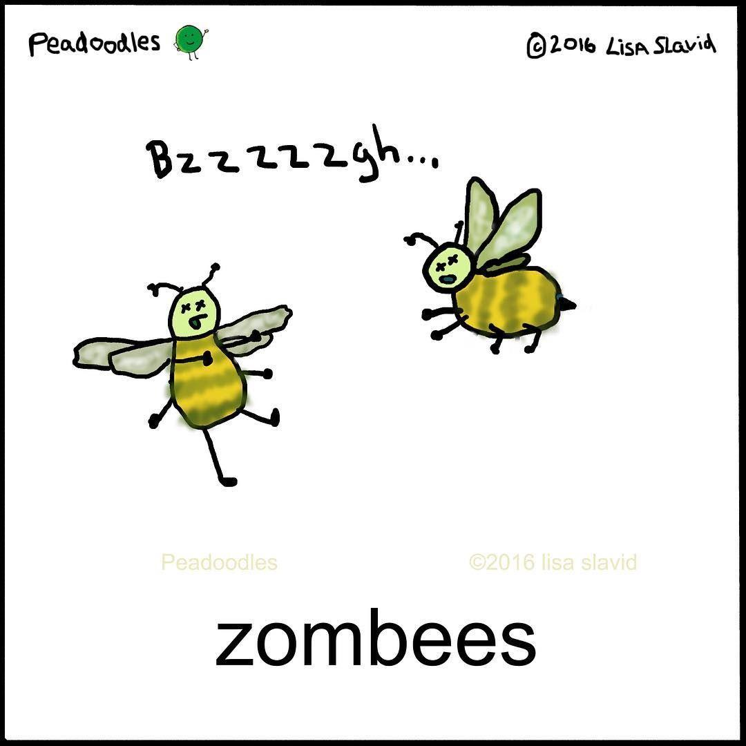 Zombeeeees #peadoodles #pun #playonwords #halloween #zombies ...