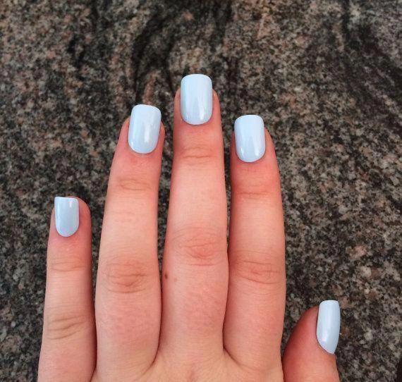 Blue nails baby blue press on nails set of nails | Etsy