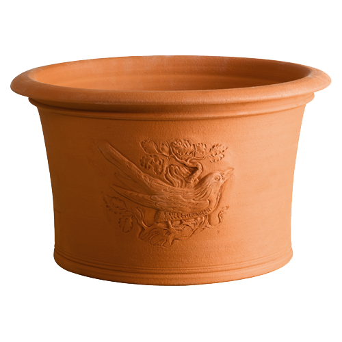 """Cuckoo Pots - The stunning detail of the cuckoo pot is incredible. Combining a sturdy, wide based, large volume plant pot with delicate craftsmanship the cuckoo planter heralds the coming of spring.....    """"The cuckoo comes in April,    Sings his songs in May,    In the month of June    He changes his tune,    And then he flies away."""""""