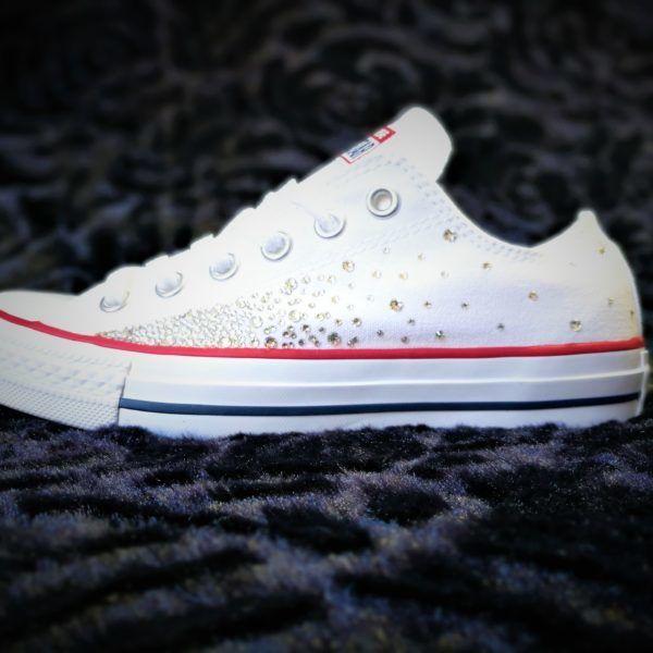 chaussures customisées converse swarovski galaxy double g customs shoes  chaussures personnalisées