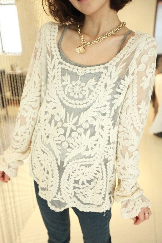 c08a84ca3751 Wholesale Sweet Openwork Embroidery Pattern Loose Fit Long Sleeve Lace  Blouse For Women (AS THE PICTURE