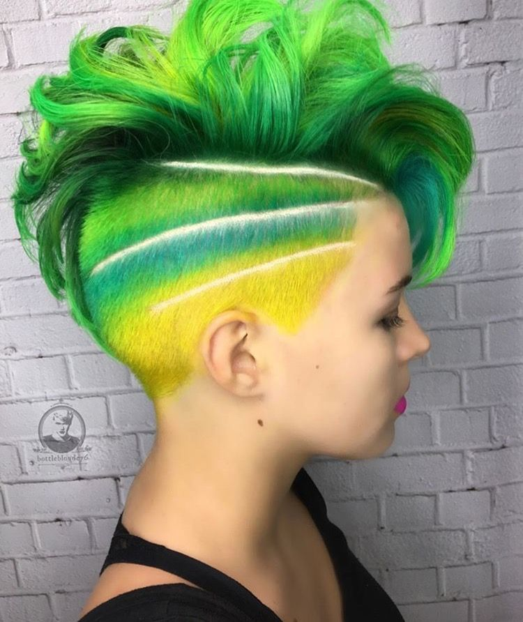 Shades Of Green Yellow Blue Teal Undercut Shades Of Green Ombre