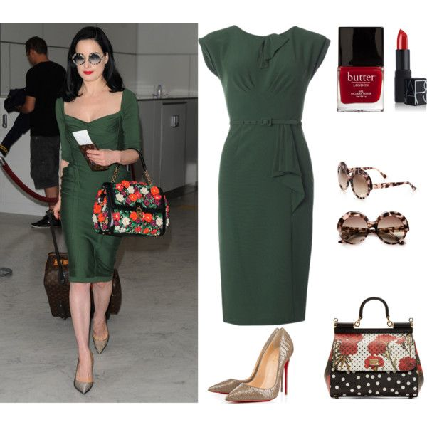 Pinup Fashion: Dita Green Wiggle Dress by ashliabelle on Polyvore featuring Stop Staring!, Dolce&Gabbana, Cutler and Gross, NARS Cosmetics, Butter London and vintage