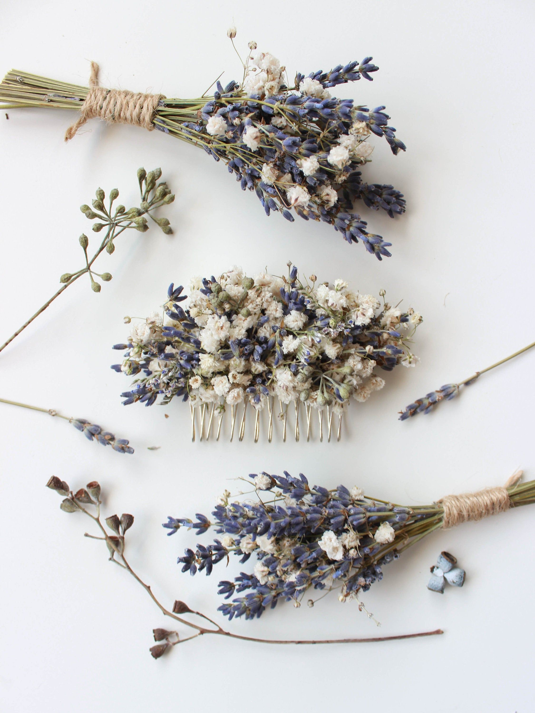 Dried Lavender Babies Breath Hair Comb / Dainty Wedding Floral Comb / Bridal Hair Accessory / Dried Flowers Hair pin clip / Gift for her