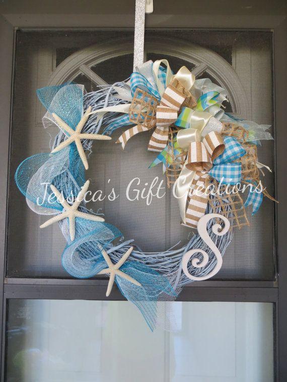 Photo of Items similar to Made to Order beach wine wreath / front door wreath / starfish wreath / monogram wreath / nautical door hanger / welcome / summer / everyday wreath on Etsy