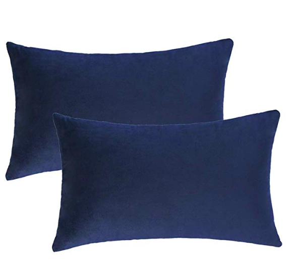 Soft Velvet Solid Navy Blue Decorative Square Throw Pillow Covers Set Cushion Case For Sofa Couch Home Decor 12 X 2 Pillows Velvet Pillows Velvet Pillow Covers