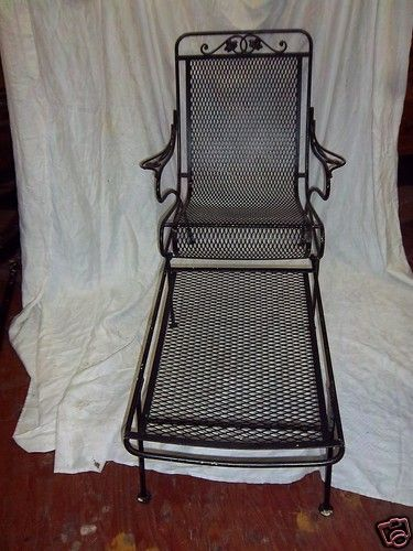 Mid century salterini wrought iron patio lounge chair removeable leg ...