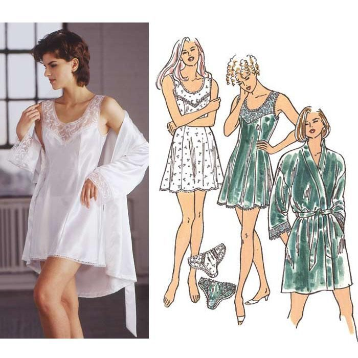 The chemise, robe and panties are designed for lightweight woven fabrics.
