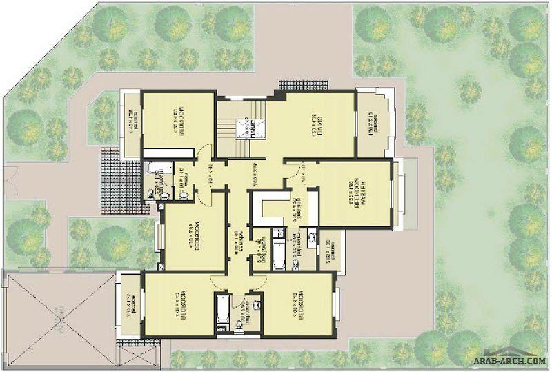 مخطط فيلا جنان مساحة البناء ٧٥٥م مساحة الارض تتراوح من ٨٠٤م٢ إلى ٥٣٠ ١م٢ Arab Arch Floor Plans Design Arch
