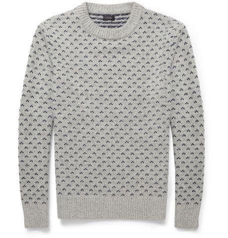 J.Crew Birdseye Fair Isle Wool Sweater - 3d effect | knits ...