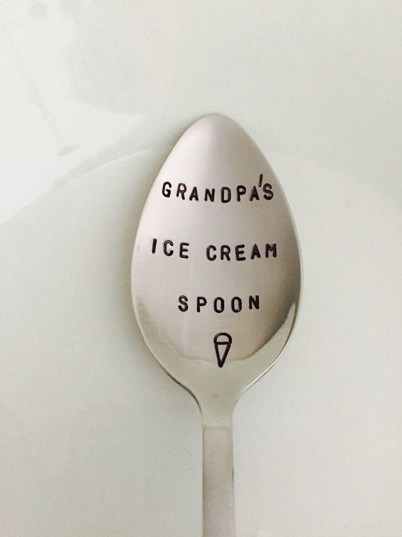 Grandpa's Ice Cream Spoon-Hand Stamped Spoon-Christmas Stocking stuffer-Grandpa Birthday Gift-Best Selling Item-Personalized Spoon