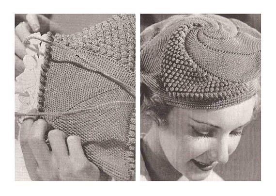 Popcorn beret set crochet vintage pattern PDF instant download ...