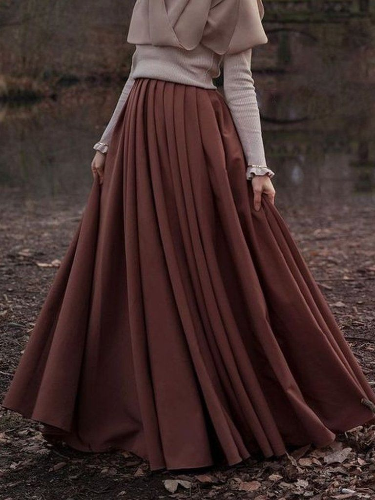 Cotton-Blend Solid Casual Skirts