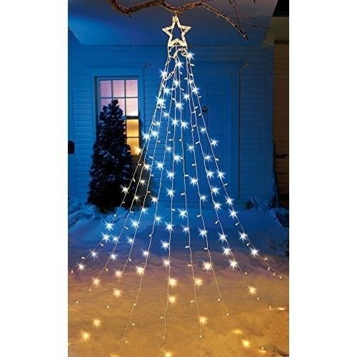 lighted string christmas tree with star holiday decor outdoor yard decoration