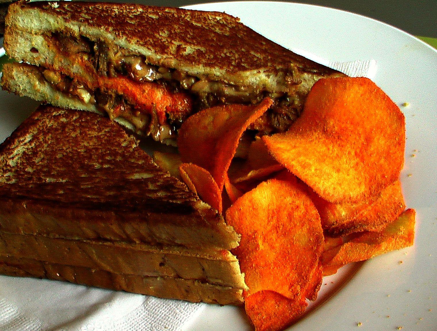An interesting Peanut Butter & Beef Rendang Sandwich served at The KopiShop. Hmmm ...