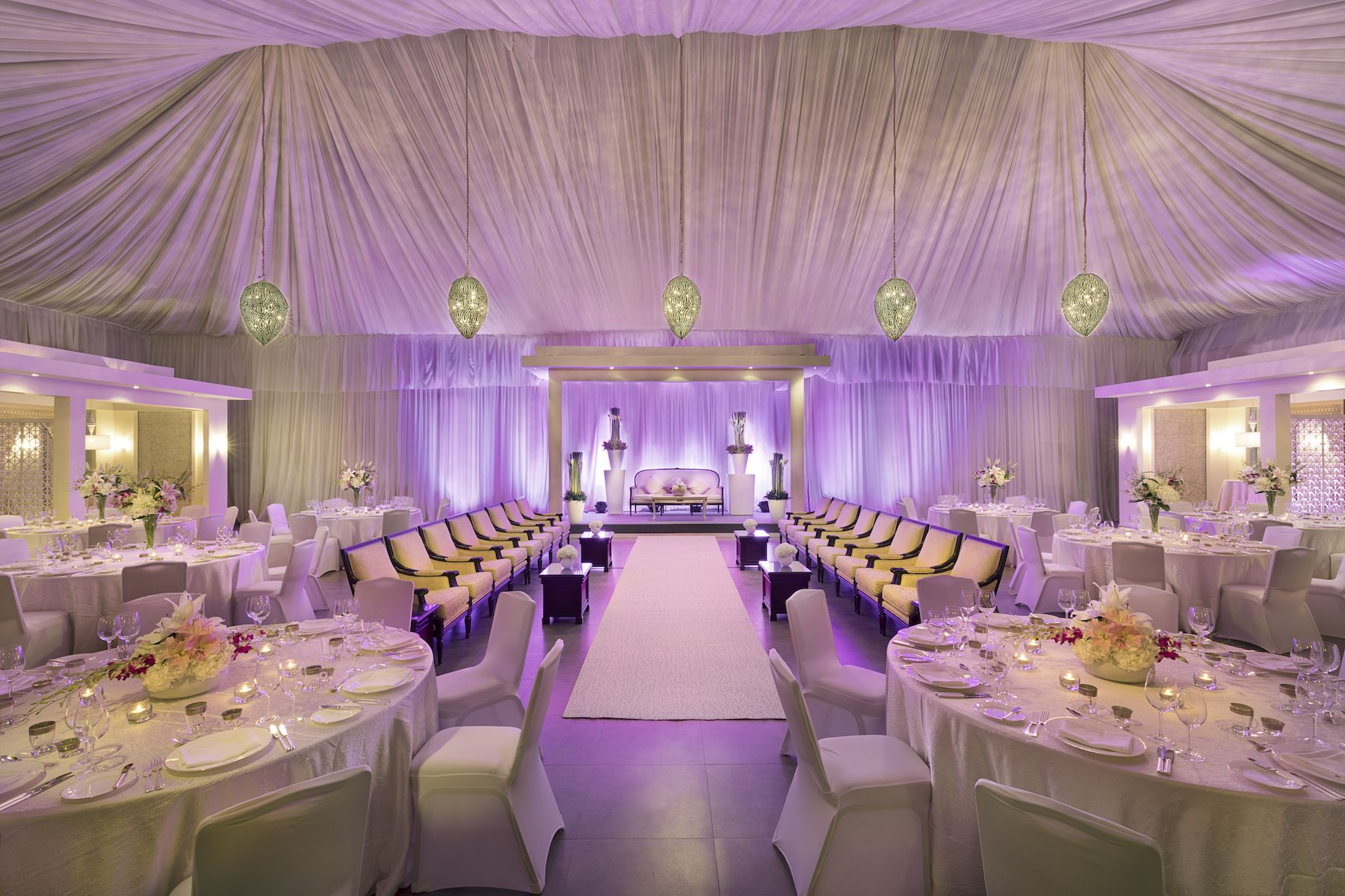 Uplighting Adds Soft Shades Of Color To A Wedding Reception In The Al Khayma Tent At Ritz Carlton Bahrain