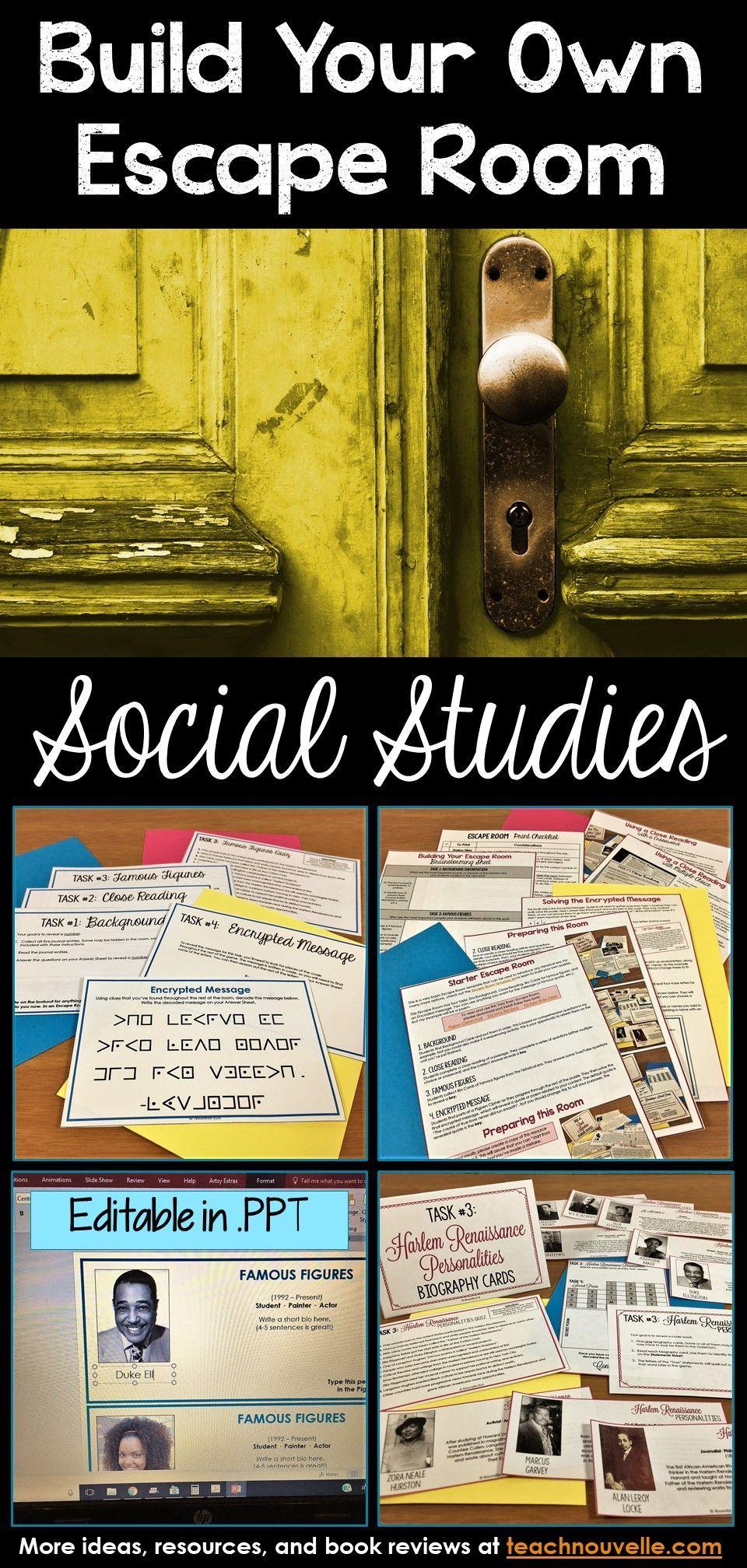 Social Studies Escape Room Editable Social Studies Escape Room Social Studies Classroom