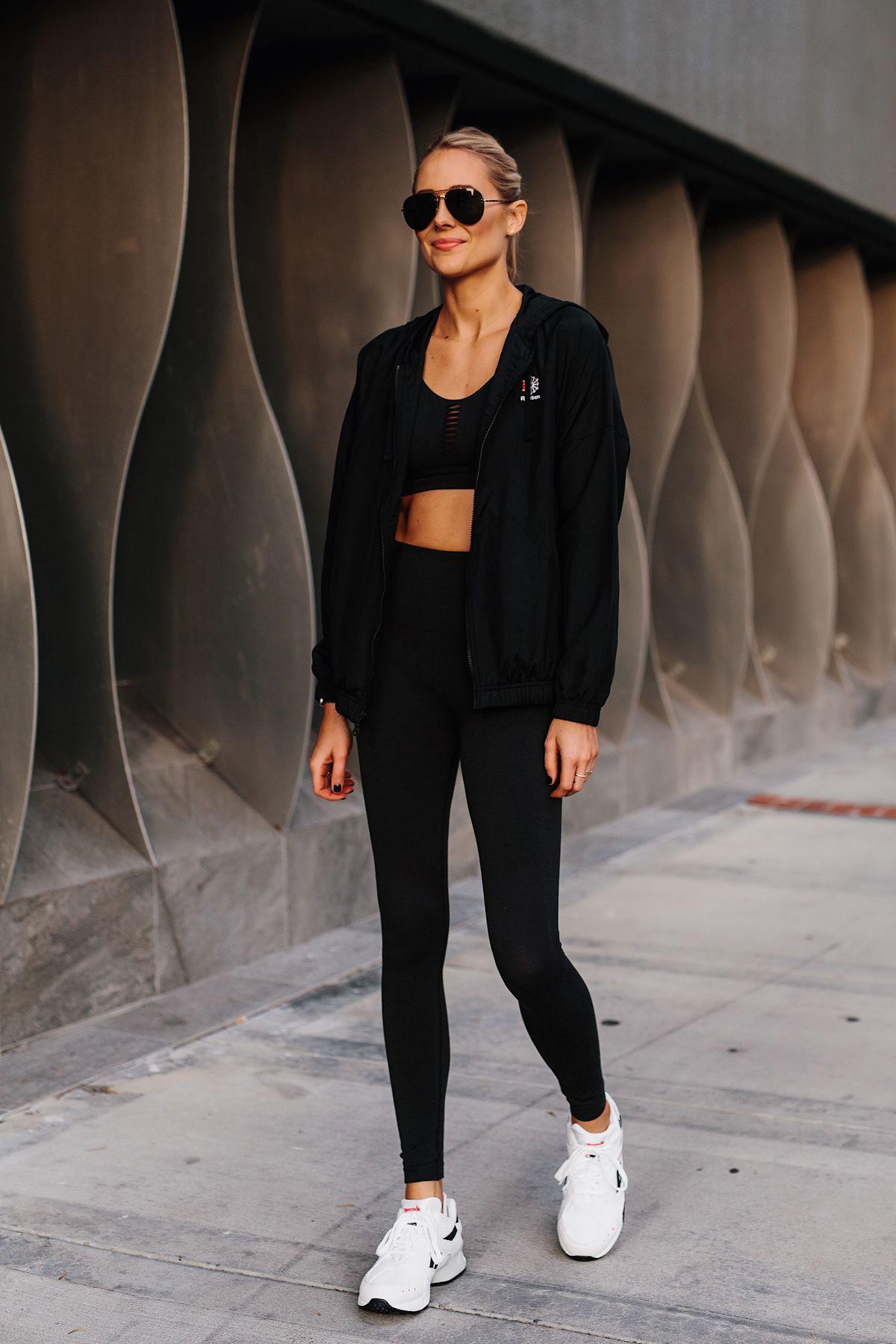 b2fbfd61cf1427 Blonde Woman Wearing Reebok Black Windbreaker Reebok Black Sports Bra Reebok  Black Leggings Reebok Aztrek Sneakers White Fashion Jackson San Diego  Fashion ...