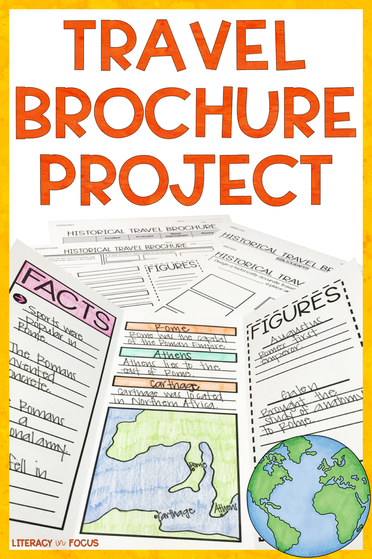 travel brochure template and research project literacy in focus