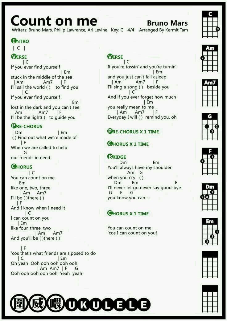 Count On Me Fun Ukulele Song Ukulele Resources Pinterest