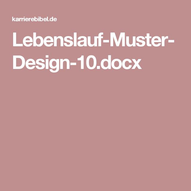 Lebenslauf Muster Design 10docx Bewerbung Pinterest