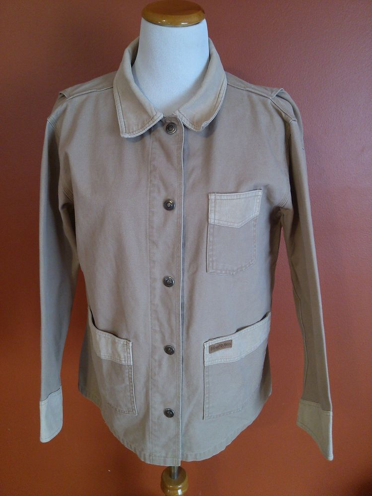Womens Canvas Chore Jacket L Powder River by Panhandle Slim Snaps Beige Sturdy