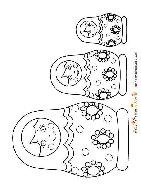 Coloriage poup es russes sur t te modeler dessin poup e russe poup e et coloriage - Coloriage tete a modeler ...