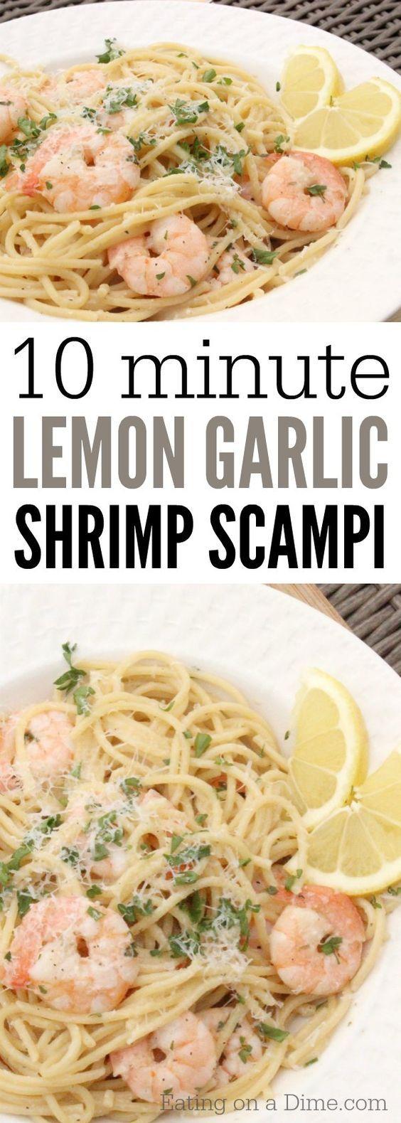 Lemon Garlic Shrimp Scampi #garlicshrimprecipes