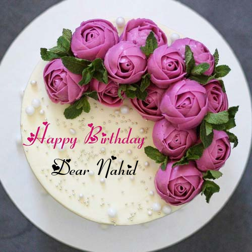 Butter Cream Rose Flower Birthday Cake With Name Birthday Cake With Flowers Creative Birthday Cakes Birthday Wishes Cake