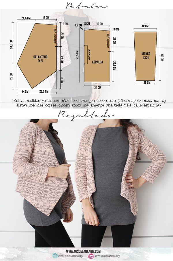 Patrón para hacer esta chaqueta de picos, ¡muy fácil! | Telar ...