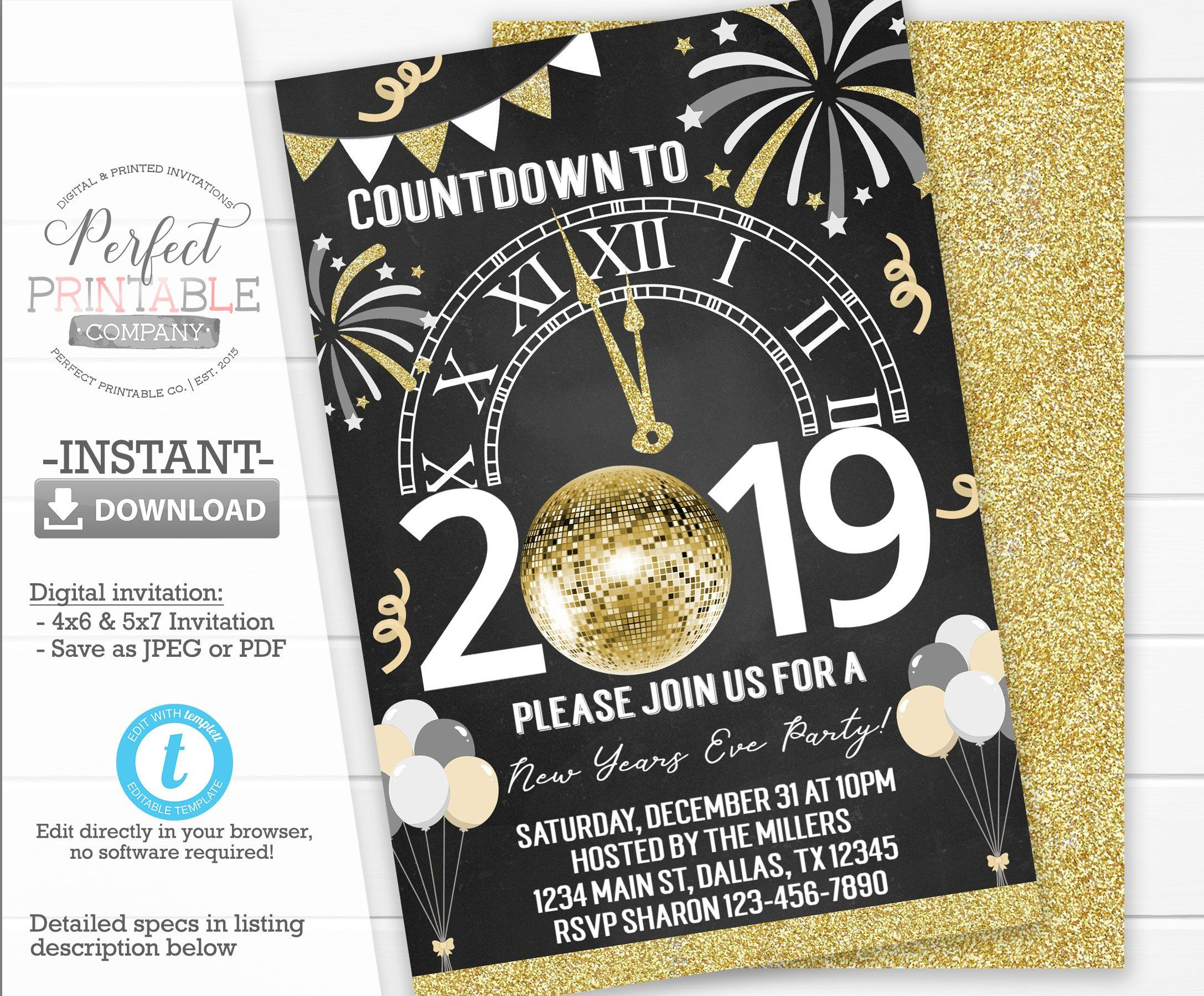 New Years Party Invitation, Countdown to 2020 Invitation