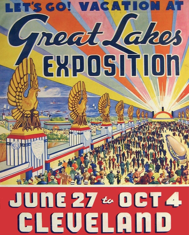 1936 Cleveland Ohio Parade Vintage Railroad U.S Travel Advertisement Poster