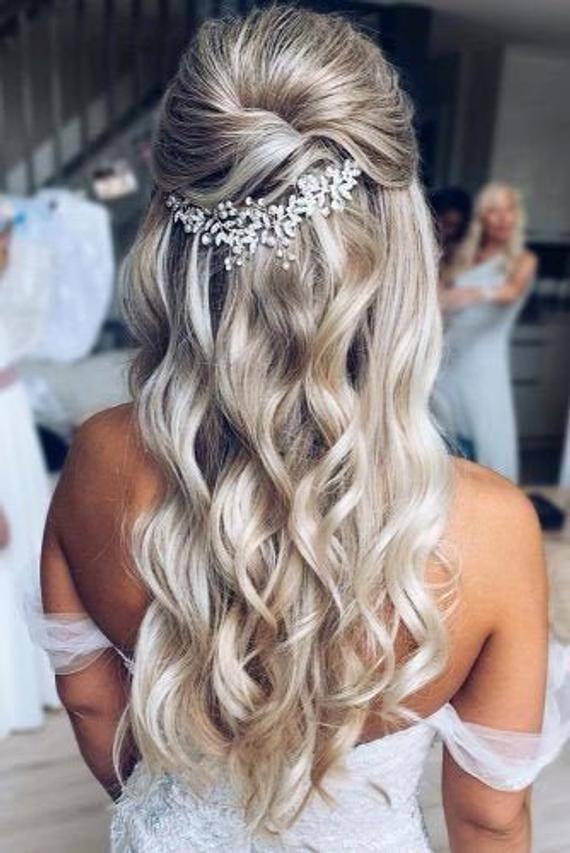 Bridal Hair Accessories Bridal Hair Piece Bridal Hair Vine Wedding Hair Accessories Silver Bridal Hair Piece Rose Gold Bridal Hair Vine In 2020 Bride Hair Down Wedding Hair Half Wedding Hairstyles