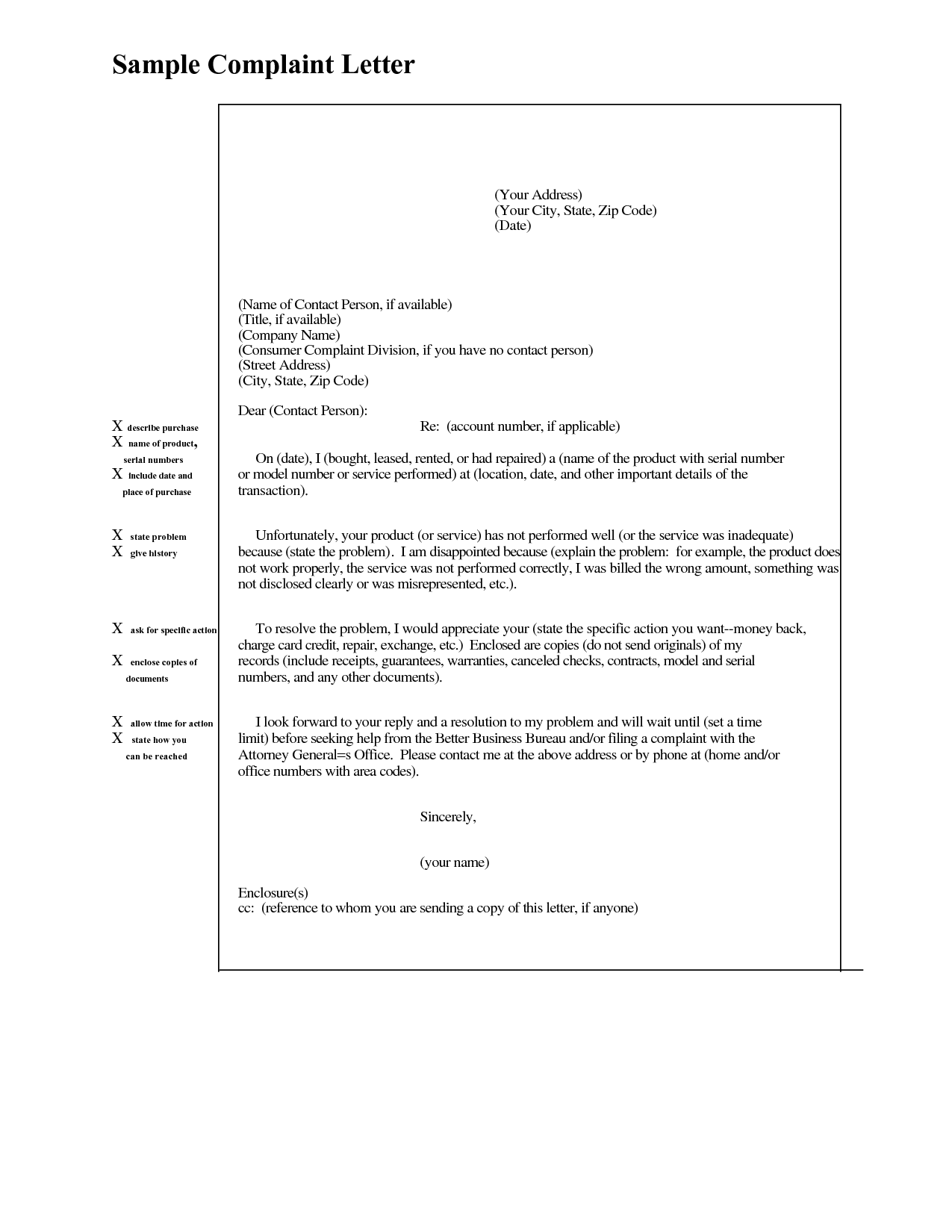 Complaint Letter Examples Cover Sample Follow Customer Relations