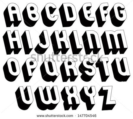 Black and white 3d font, single color simple and bold letters ...