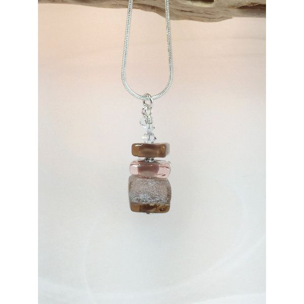 Brown glass necklace art lampwork square beads with crystals ($29) via Polyvore featuring jewelry, necklaces, beach glass jewelry, swarovski crystal beads necklace, clear glass necklace, beaded necklaces and beaded jewelry