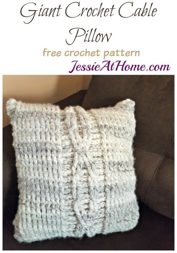 Giant Crochet Cable Pillow - free crochet pattern by Jessie At Home ...